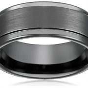 8mm Black High Polish Tungsten Carbide Men's Wedding Band Ring in Comfort Fit and Matte Finish