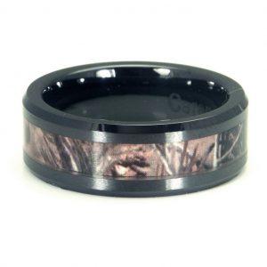 Black Ceramic Men's Hunting Camo Ring, Comfort Fit Band, 8mm