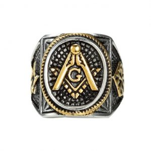 Mens Masonic Jewelry Ring G Mason Master Star Freemason Vintage Gold Plated