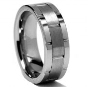 Men's 8mm Classic Flat-top Brushed Center Tungsten Ring Grooved Wedding Band