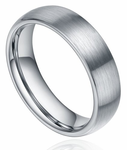 6mm/8mm Unisex Titanium Ring Brushed Dome Wedding Bands Comfort Fit