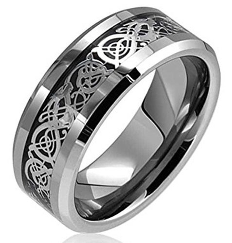 8mm Silver Celtic Dragon Inlay Tungsten Carbide Ring Comfort Fit Wedding Bands Polished Finish