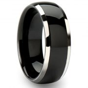 8mm Black Tungsten Carbide Ring Wedding Engagement Band Domed Bright Polished Finish