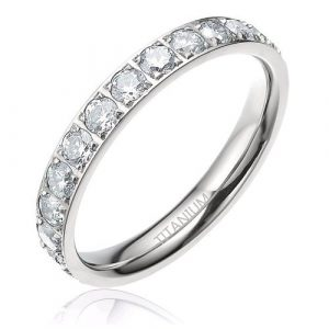 3 mm Women's Titanium Silvery Cz Stone Inlay Eternity Ring Wedding Engagement Band