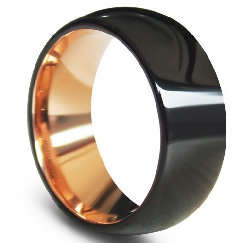 Black Domed Tungsten Carbide Rings Rose Gold Interio