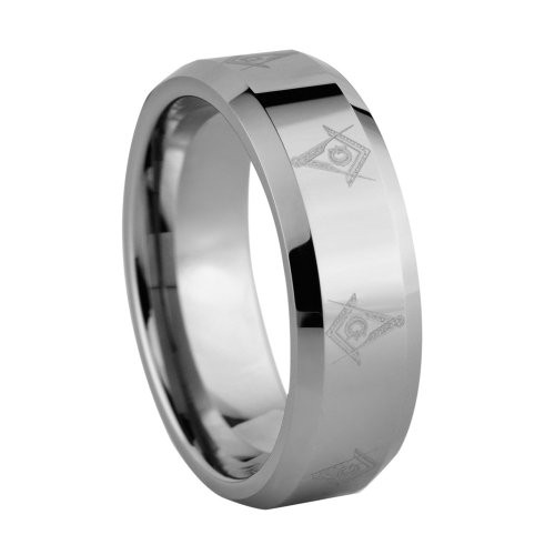 8mm Laser Engraved Masonic Symbol Tungsten Carbide Wedding Band