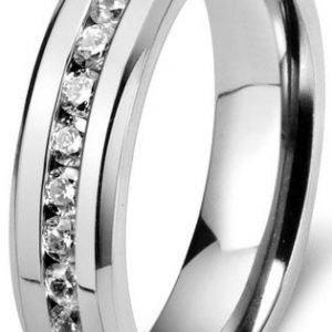 6mm Mens Womens Titanium Ring Engagement Wedding Band Cubic Zirconia Inlaid