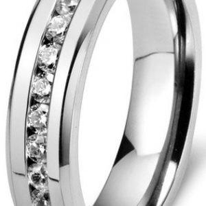 6mm Mens Womens Titanium Ring Engagement Wedding Band Cubic Zirconia Inlaid