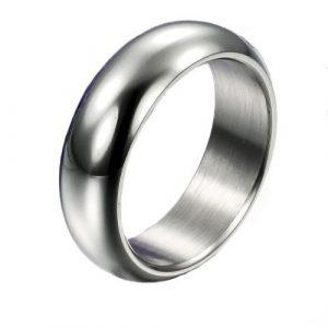 7MM Men's Unisex Titanium Steel White Glossy Pure Polished Wedding Ring