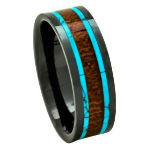 Men's Koa Wood Wedding Band with Turquoise 8mm Flat Top Black Ceramic