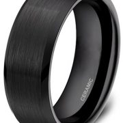 4mm 6mm 8mm Black Ceramic Rings Brushed Comfort Fit Wedding Band for Men Women