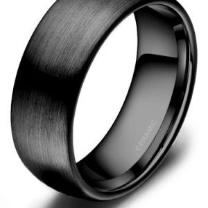 8mm Men's Brushed Black Ceramic Ring Matte Finish Comfort Fit Wedding Band