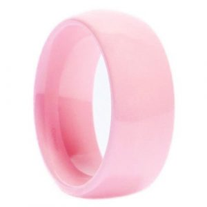 Pink Ceramic Wedding Ring Classic High Polished Band 8mm