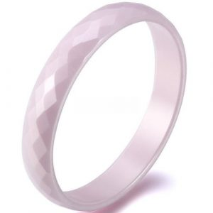 3.5mm Comfort Fit Pink Faceted Ceramic Ring Ladies Love Engagement