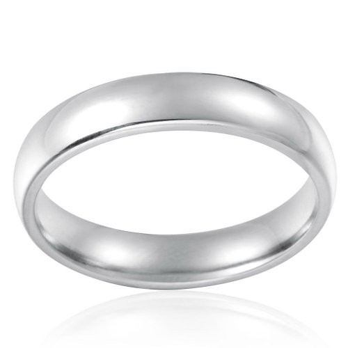 Stainless Steel Womens Mens Plain Wedding Band Ring Polished Charm 4mm