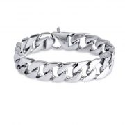 Men's Chain Bracelet 316L Stainless Steel Curb Link 15mm Width, Silver Color