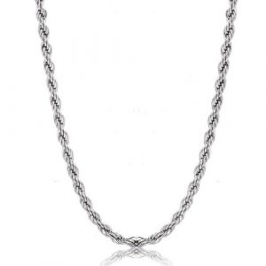 4mm Mens Womens Stainless Steel Twist Rope Chain Necklace 18-36 Inch
