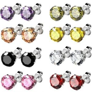 Stainless Steel Womens CZ Stud Earrings Set Piercing, 8 Pairs