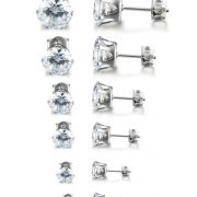 Womens Stainless Steel Stud Earrings Set Hypoallergenic Pierced Cubic Zirconia 6 Pairs