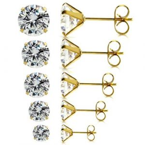 5 Pairs Assorted Sizes Wholesale Lot Stainless Steel Cubic Zirconia Stud Earrings