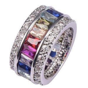 Morganite Blue Topaz Garnet Amethyst Ruby Pink Kunzite Aquamarine 925 Sterling Silver Ring