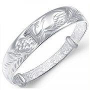 Women's 925 Sterling Silver Folk-custom Phoenix Bangle Bracelets