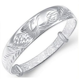 Women's 925 Sterling Silver Folk-custom Phoenix Bangle Bracelets