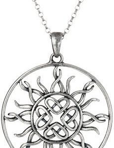 Sterling Silver Celtic Love Knot Sun Pendant Necklace, 18""