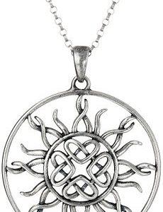 "Sterling Silver Celtic Love Knot Sun Pendant Necklace, 18"""