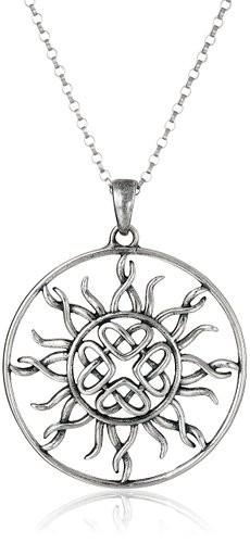 Sterling Silver Celtic Love Knot Sun Pendant Necklace, 18″