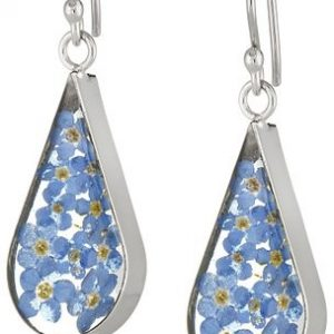 Sterling Silver Pressed Flower Teardrop Earrings