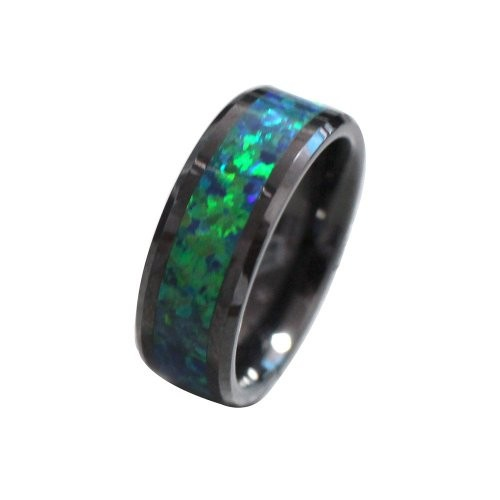 Black Tungsten 6mm Wedding Band Ring Women Mens Green Opal Inlay Comfort Fit