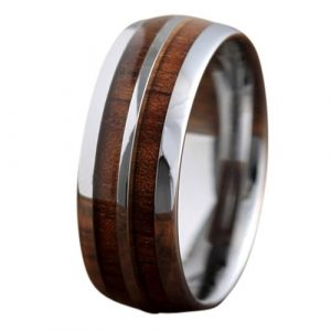 8mm Tungsten Wood Ring with Genuine Koa Wood, Mens Wood Ring Comfort Fit With a Tungsten Center Stripe