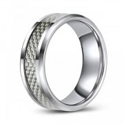 Tungsten Wedding or Fashion Ring with Carbon Fiber Inlay - Modern - Hip - Trendy - Chic - Comfort Fit