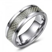 Tungsten Wedding or Fashion Ring with Carbon Fiber Inlay – Modern – Hip – Trendy – Chic – Comfort Fit