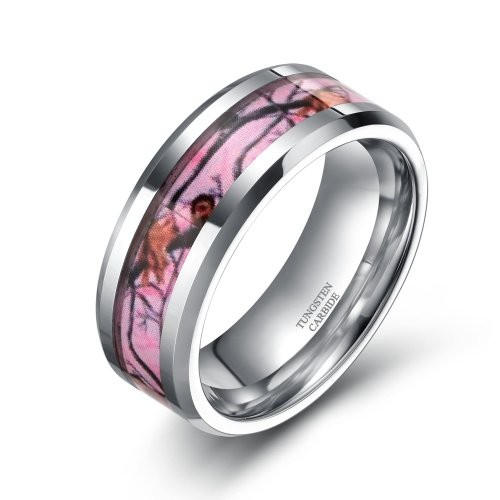 6mm/8mm Tungsten Deer Antlers Camouflage Inlay Hunting Ring Wedding Engagement Band