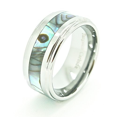 Wide 10mm Abalone Shell Inlaid Tungsten Wedding Band
