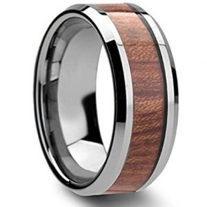 8mm Tungsten Ring High Polished Koa Wood Inlay Mens & Womens Wedding Band