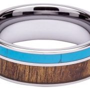 Tungsten Ring Inlaid with 100% Natural Koa Wood and Solid Turquoise - Extremely Unique - 8mm Wide - Wedding