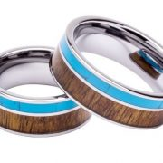 Tungsten Ring Inlaid with 100% Natural Koa Wood and Solid Turquoise – Extremely Unique – 8mm Wide – Wedding