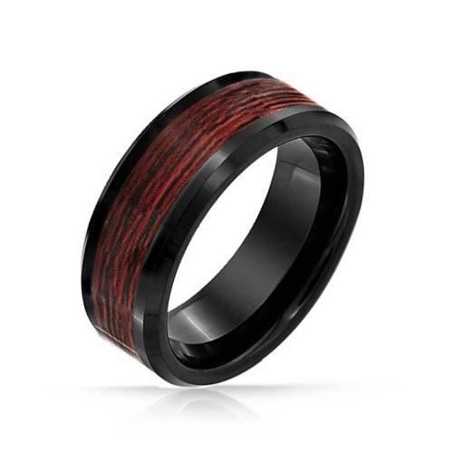 Black Tungsten Wood Inlay Mens Ring