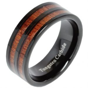 8mm Men's Tungsten Carbide Ring Double Wood Inlay Black Plated Wedding Band