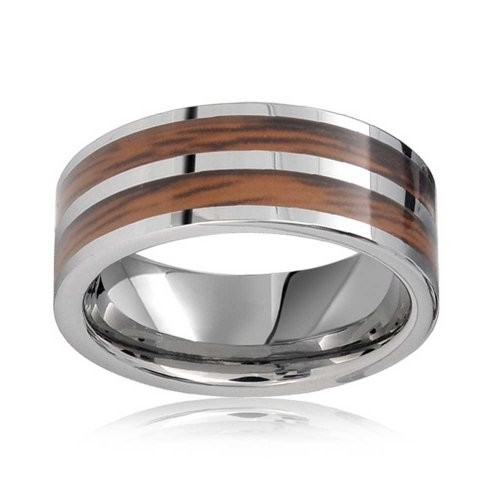 Double Wood and Tungsten Wedding Band