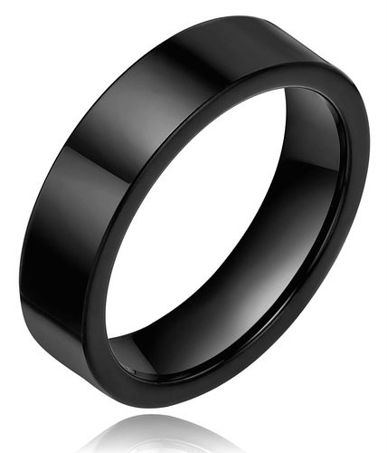 6mm Tungsten Men's Women's Black Plated High Polish Glossy Ring Comfort Fit Wedding Band