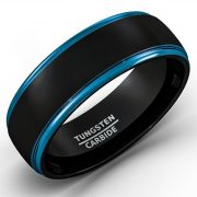 Mens Wedding Band Two Tone Black Tungsten Ring 8mm Blue Sides Step Edge Comfort Fit