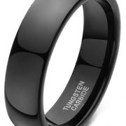 6mm 8mm men's Plated Black Plain Dome High Polished Tungsten Ring Comfort Fit Wedding Band