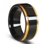 Gold Edges and Raised Center Top Polished Black Tungsten Carbide Rings
