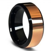 8mm Rose Gold Beveled Tungsten Carbide Rings Top Polished Wedding Bands