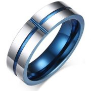 6mm Tungsten Carbide High Polished Two-tone Blue Wedding Bands Ring for Men