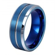 8MM Tungsten Wedding Ring with Groove in the Center Matte Finish and Beveled Edge
